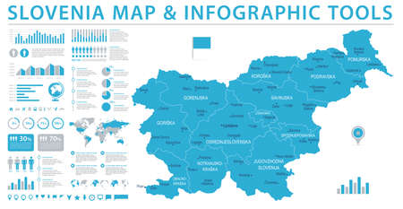 Slovenia Map - Detailed Info Graphic Vector Illustration Illustration