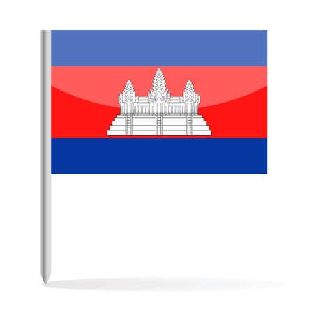 Cambodia Flag Pin Vector Icon Illustration