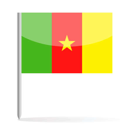 Cameroon Flag Pin Vector Icon - Illustration