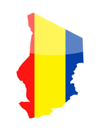 Chad Flag Country Contour Vector Icon - Illustration