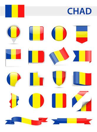 Chad Flag Set Vector Illustration Illustration