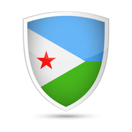 Djibouti Flag Vector Shield Icon - Illustration Illustration