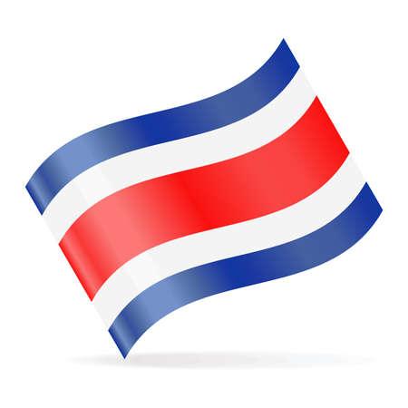 Costa Rica Flag Vector Waving Icon Illustration.