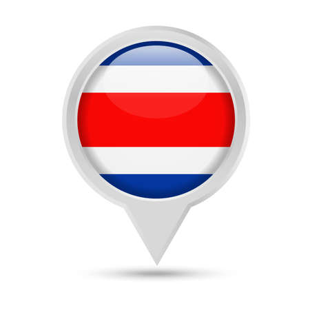 Costa Rica Flag Round Pin Vector Icon Illustration.