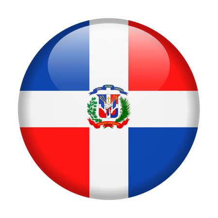 Vlag van Dominicaanse Republiek vector ronde icon - illustratie.