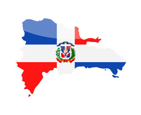 Dominican Republic flag country contour vector icon - illustration. Иллюстрация