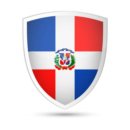 Dominican Republic flag vector shield icon - illustration.