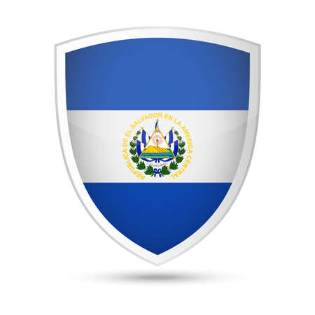 El Salvador flag vector shield icon - illustration on white background.