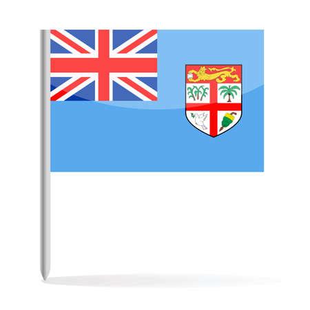 Fiji Flag Pin Vector Icon - Illustration