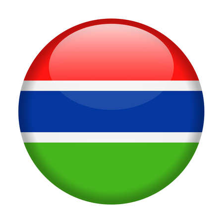 Gambia flag vector round icon - illustration on white background.