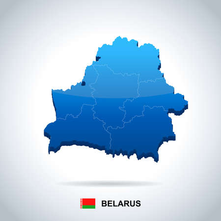 Belarus map and flag in high Detailed Vector Illustration.