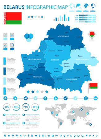 Belarus infographic map and flag in High Detailed Vector Illustration. Illustration