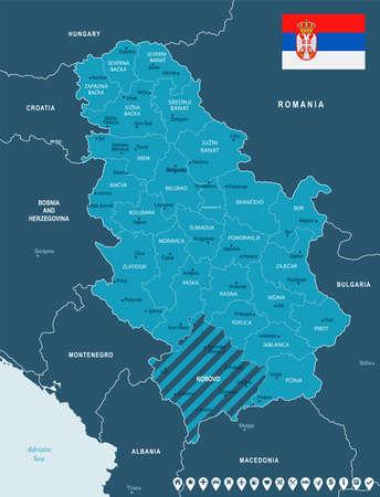 Serbia map and flag - High Detailed Vector Illustration Illustration