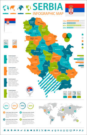Serbia infographic map and flag in High Detailed Vector Illustration.