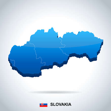 Slovakia map and flag in High Detailed Vector Illustration. Vettoriali