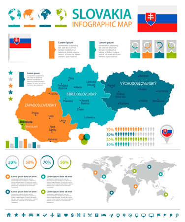 Slovakia infographic map and flag - High Detailed Vector Illustration
