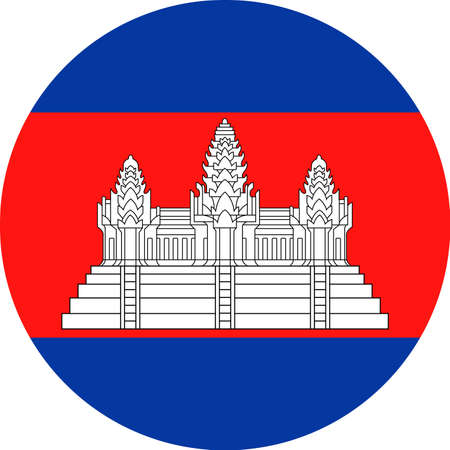 Cambodia Flag Vector Round Flat Icon Illustration Ilustração