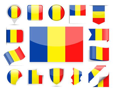 Chad Flag Set Vector Illustration Иллюстрация
