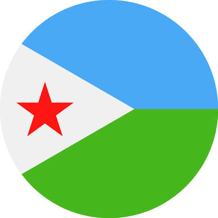 Djibouti Flag Vector Round Flat Icon Illustration