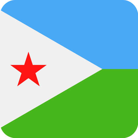 Djibouti Flag Vector Square Flat Icon Illustration
