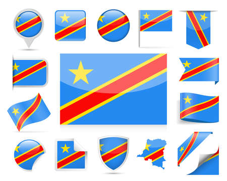 Democratic Republic of the Congo flag set vector illustration.