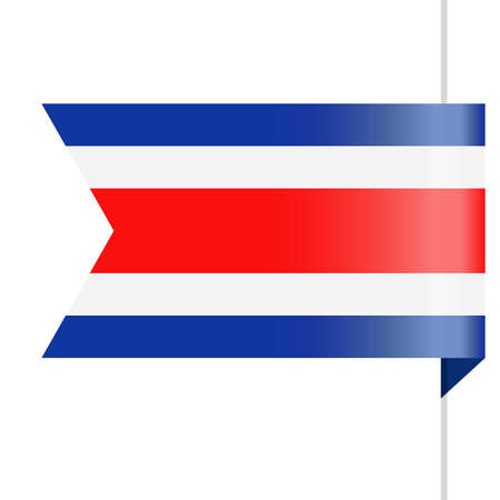 Costa Rica Flag Vector Bookmark Icon Illustration