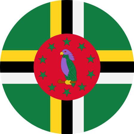 Dominica flag vector round flat icon illustration. Illustration