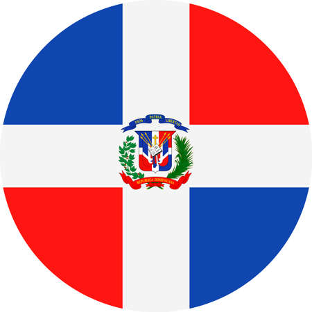 Dominican Republic Flag Vector Round Flat Icon - Illustration Illustration