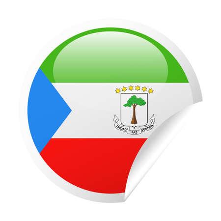 Equatorial Guinea Flag Vector Round Corner Paper Icon Illustration.