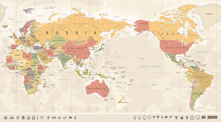 Vintage Political World Map Pacific Centered - vector. 向量圖像