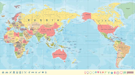 Vintage Political World Map Pacific Centered - vector. Stock Illustratie