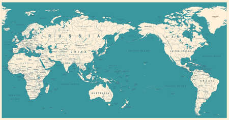 Vintage Political World Map Pacific Centered - vector
