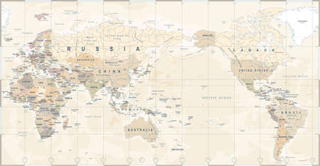 Vintage political world map Pacific centered - vector.