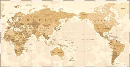 빈티지 정치 세계지도 태평양 중심 - 벡터.