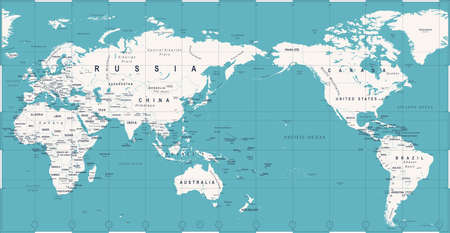 Political world map pacific centered vector icon.