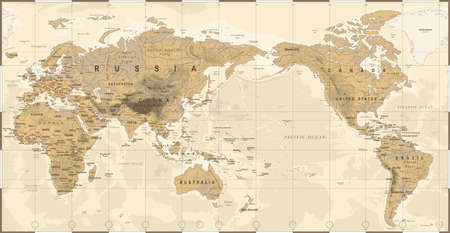 Political physical topographic colored world map pacific centered vector icon. Imagens - 94834547