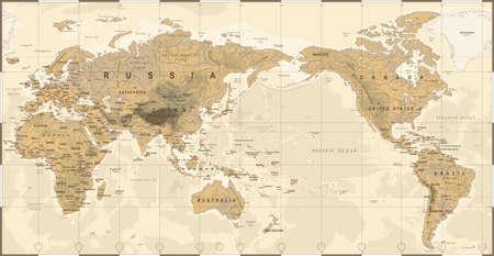 Polityczna fizyczna topograficzna kolorowa mapa świata Pacyfiku wyśrodkowanej wektor ikona.
