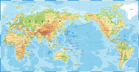 Political physical topographic colored world map pacific centered vector icon. Imagens - 94834548