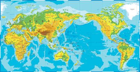 Icona centrata pacifica di vettore della mappa di mondo colorata topografica fisica politica.