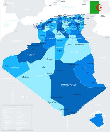 Algeria Map - Detailed Info Graphic Vector Illustration