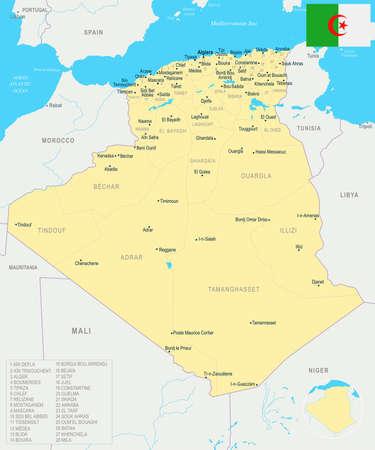 Algeria map and flag - High Detailed Vector Illustration Çizim