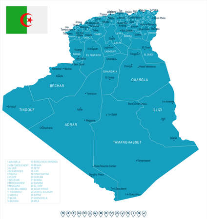 Algeria map and flag - High Detailed Vector Illustration Stok Fotoğraf - 94790948