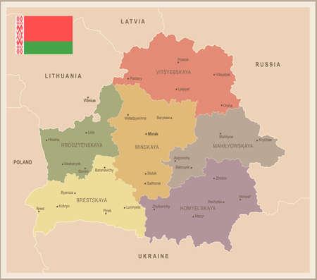 Belarus - vintage map and flag - High Detailed Vector Illustration Illustration