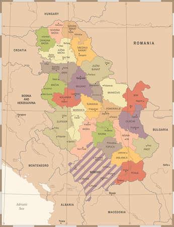 Serbia Map - Vintage High Detailed Vector Illustration Illustration