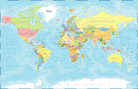 Political Physical Topographic Colored World Map Vector illustration Фото со стока - 94989978