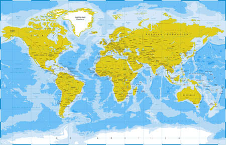 Political Physical Topographic Colored World Map Vector illustration Illustration