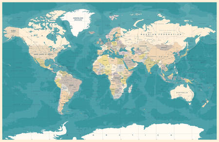Political Physical Topographic Colored World Map Vector illustration 向量圖像