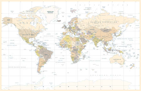 Political Physical Topographic Colored World Map Vector illustration Stock Illustratie