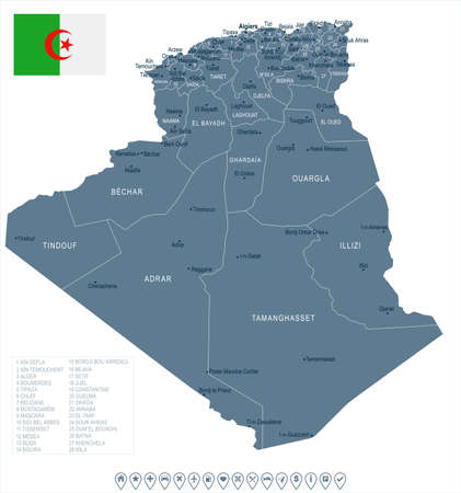 Algeria map and flag High Detailed Vector Illustration Çizim