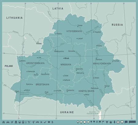 Belarus Map Vintage High Detailed Vector Illustration Illustration